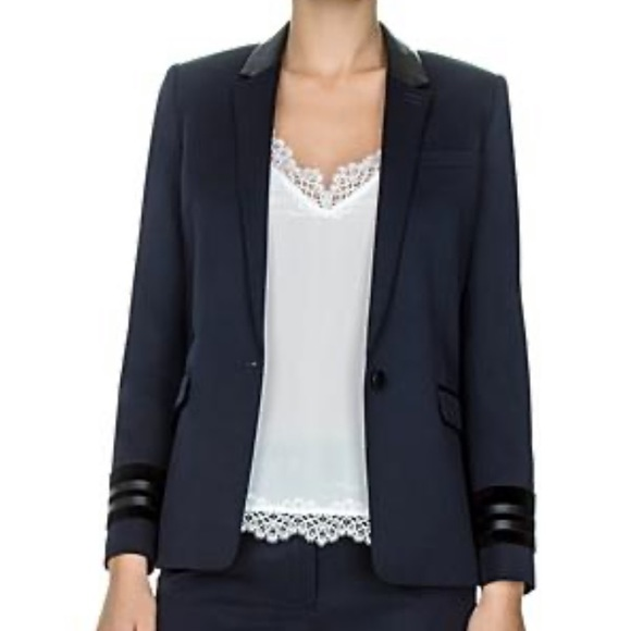 The Kooples Jackets & Blazers - NWT The Kooples Leather trimmed 1 button Blazer